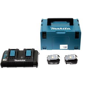 Pack Energie 18 V Li-Ion 6 Ah 2 batt BL1860B+chargeur DC18RD coffret MAKPAC MAKITA