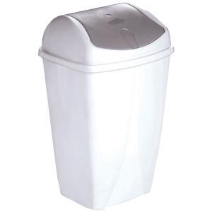 Poubelle couvercle basculant 50L plastique blanc